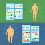 Healthy Lifestyle Flat Vector Card or Infographic Elements With Refrigerator - stock illustration