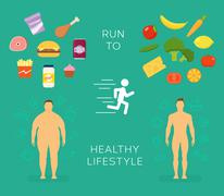 Running to Healthy Lifestyle Flat Vector Card or Infographic Elements - stock illustration