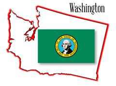 washington state map and flag - stock illustration
