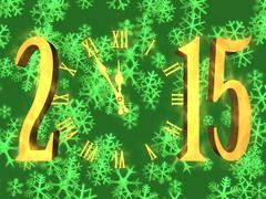 happy new year greeting 2015 - clock and snowflakes - stock illustration