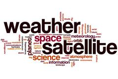 Weather satellite word cloud Stock Illustration