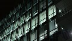 Entrance to the building and business building (offices) - night - windows Stock Footage
