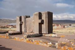 Huge blocks of Puma Punku Ruins, Tiwanaku - stock photo