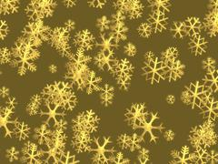 christmas golden snowflakes background - stock illustration
