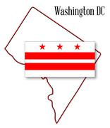 washington dc map and flag - stock illustration