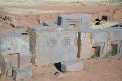Ancient ruins of Puma Punku, Tiwanaku civilization, Bolivia Stock Photos