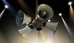horn speakers hanging spotlights - stock illustration