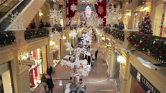 Christmas decorations in the shopping mall. Stock Footage