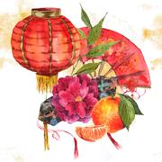 Watercolor Background Chinese New Year Element - stock illustration