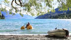 Summer day in Queenstown in South Island, New Zealand. Stock Footage
