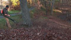 Landscaper pushes leaves downhill Stock Footage