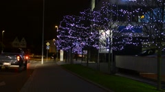 urban trees decorated with christmas lights - night - city: urban street  - stock footage