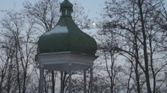 Winter, old summerhouse under the sky Stock Footage