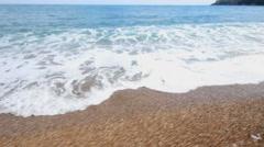 Beach waves best coast of Mediterranean Sea beach Stock Footage