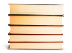 stack of old books front view - stock photo