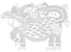 black and white unusual fantastic creature - stock illustration