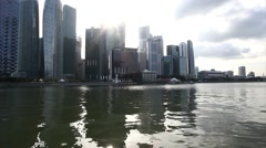 Singapore City Skyline, Financial district across Marina Bay Stock Footage