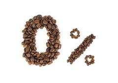 0% of caffeine. non caffeinated coffee beans sign. white background. isolated Stock Photos