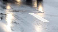 Wet Asphalt Road Stock Footage