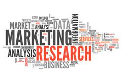 Word cloud marketing research Stock Illustration