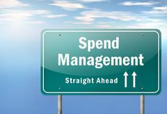 Highway signpost spend management Stock Illustration
