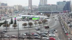 An intersection of Leninsky avenue and Krasnoputilovskaya str in St. Petersburg Stock Footage