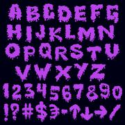 Stock Illustration of purple font smudges. alphabet splashing