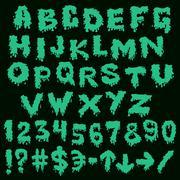 green font smudges. alphabet splashing - stock illustration