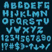 blue font smudges. alphabet splashing - stock illustration