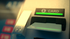 Card Coming Out Of An Atm Machine Stock Footage