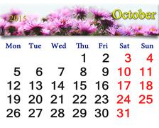 calendar for october of 2015 with the pink asters - stock illustration