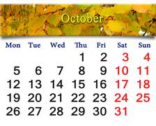 calendar for october of 2015 with yellow leaves - stock illustration