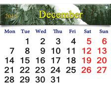 Calendar for december with evergreen spruce Stock Illustration