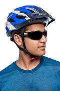 Man in bike helmet. Stock Photos