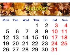Stock Illustration of calendar for october of 2015 with yellow leaves