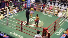 Children Muay Thai Boxing Match Fight Combat Sport Ring Stadium Thailand Stock Footage