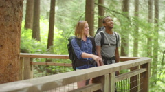 Man and woman hiking on boardwalk look around in the woods Stock Footage