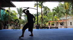 Sword Fighting Silhouette Demonstration Weapon Blade Martial Arts Slow-Motion Stock Footage