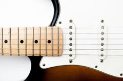 Detail of electric guitar neck and body Stock Photos