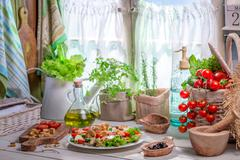 Healthy food prepared in the spring kitchen Stock Photos
