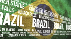 Brazil Flag Tourism Attractions Scrolling Banner Stock Footage