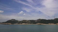 Tracking Shot Ocean Clouds Sky And Coastline Of Naoshima Island Japan 4K Stock Footage
