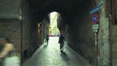 Young people using bicycles in city Stock Footage
