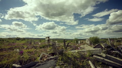Clouds over the ruins of the buildings. Apocalypse Stock Footage