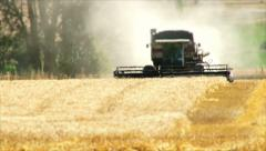 Combine Harvesting Wheat Field in Washington State - stock footage