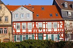Beautiful half-timbered houses in frankfurt hoechst Stock Photos