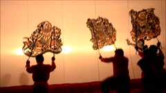 Nang Yai Puppets Shadow Play at Wat Khanon National Museum, Ratcha Buri Thailand Stock Footage