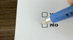 Close-up of choosing no Stock Footage