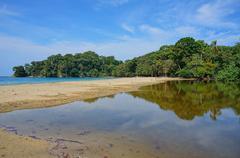 tropical shore at punta uva beach in costa rica - stock photo