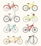 Set of retro bicycle Stock Illustration
